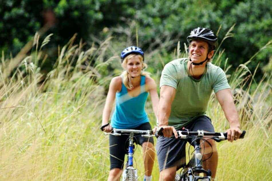 man and lady cycling